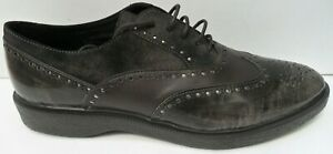 Women's Geox Respira Brown Italian Patent Leather Shoes - UK 7 EUR 40 RRP £105