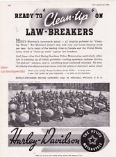 "1937 Vintage Harley Davidson Police Motorcycles ""Montreal, Quebec"" Print Ad"