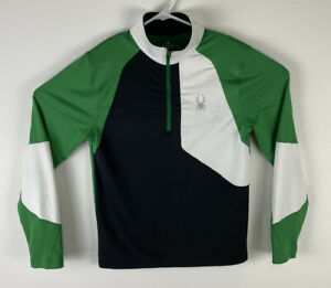 Men Spyder 1/3 zip polyester colorblock green black white athletic pullover, S