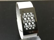 Fashion PU leather bracelet cuff wristband in white colour with rhinestones