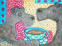 KERRY BLUE TERRIER Drinking Coffee Pop Art Print 8x10 Dog Collectible by Artist