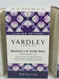 Yardley London LTD Edition Blackberry and Vanilla Bean Lot of 6 4.25 oz Bar Soap