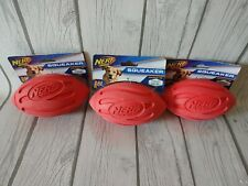 Nerf Dog Squeak Rubber Football Toy Red LOT of 3!
