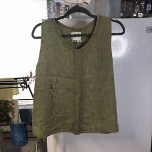Flax Womans Blouse Round Neck Sleeveless Top M Green Linen Jeanne Englehart
