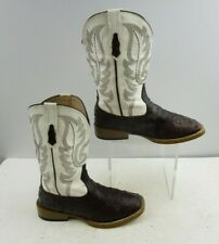 Youth Roper Brown / White Square Toe Western Boots Size : 2