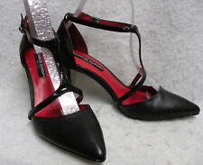 NEW Charles Jourdan Paris TStrap Ankle Strap Heels 6M Black Spike Heel PointyToe