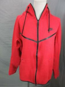 Nike Size M Mens Red Athletic Full Zip w/Pockets Cotton Hooded Jacket T426