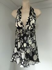 Carlos Miele Black And White Polka Dot Halter Top Size 40 Size 6