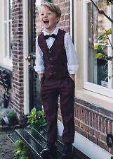Boy's Children'S TRASMISSIONE Peaky Blinder Borgogna Tweed Controllo Tuta 3 PEZZI NUOVO