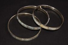 Bracelets w Sea Blue Glossy Cover (S451) A Set Of Three Amazing Gold Circular
