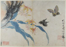 EARLY 19th ANTIQUE CHINESE BUTTERFLY PAPER PAINTING AND CALLIGRAPHY 5 SEAL MARKS