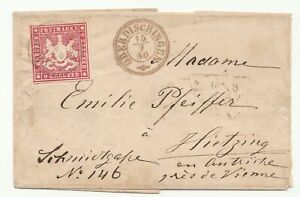SR-419 GERMANY WURTTEMBERG SCOTT 11a Dk LILAC RED ON COVER 9-15-1860 $2400