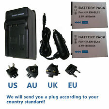 Battery (2) +Charger for Nikon Coolpix S800c, S8000, S8100, S8200 Digital Camera