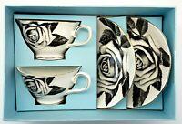 Set of 2 Grace's Teaware Black Pixel Rose Teacups and Saucers Box Set