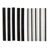 5 PCS Pack 40 Pin 2.54mm Single Row Male + Female Pin Header Strip black L9F9