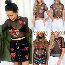 Womens Sheer Mesh Embroidered Flower T-Shirt Casual See-through Crop Tops Blouse