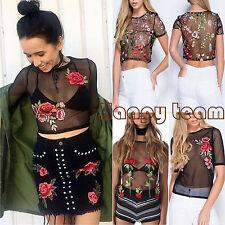 Fashion Women Mesh Sheer See-through Long Short Sleeve Crop Top T Shirt Blouse