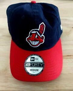 Cleveland Indians Hat New Era 49 Forty Size Medium Chief Wahoo Logo Red Brim
