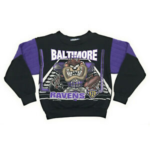 Vintage 90s Baltimore Ravens Football Taz Looney Tunes Sweater Boys Youth Size 7