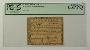 June 28th 1780 $3 Maryland Colonial Currency Note PCGS 63PPQ MD-117