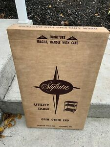 mid century kitchen stylaire cosco utility table nos cart yellow