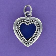 Heart Photo Frame Charm Sterling Silver for Bracelet Dot Edge Slot Opening