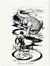 """1985 Full Color Plate """"Tarzan Against The Giant Alligator """" Frazetta Fantastic"""