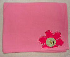 Carters Just One Year Baby Girl Blanket Pink Fleece Flower Bee