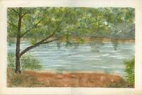 CHARLES RIVER BOSTON MA VINTAGE LANDSCAPE FOLK ART PRIMITIVE PLEIN AIR PAINTING
