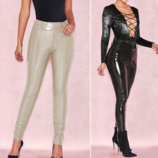 Women Sexy Punk Faux Leather Shiny Pencil Leggings High Waisted Pants Trousers
