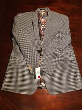 Van Heusen Men's (48) Blue And White Plaid Blazer Suit. TL8
