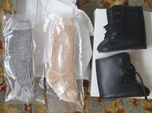 Vintage American Girl Kirsten Doll's Black Boots & 2 pair Socks MIB P1056