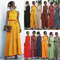 Womens Polka Dot CAMI Belt Ladies Sundress Floral Maxi Swing Holiday Long Dress