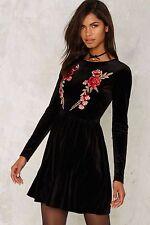 nasty gal Glamorous Geena Embroidered Velvet Dress xsmall