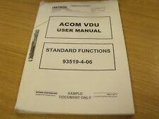 Zetron. ACOM VDU User Manual, Standard Functions 93519-4-06
