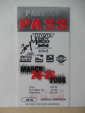 Tony George Autographed Toyota Indy 300 Paddock Pass - March 26th, 2006 Ticket