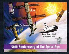 Un Space Us and Soviet Stations Souvenir Sheet 2007 Mnh