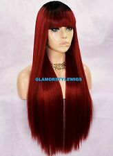HUMAN HAIR BLEND FULL WIG EXTRA LONG LAYERED BANGS OMBRE BLACK RED MIX HAIRPIECE