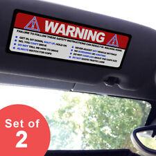 Large - Warning Funny Safety Rules - Visor Sticker Set for MINI Cooper