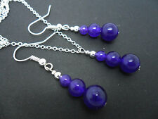 A  PURPLE AMETHYST JADE  NECKLACE AND   EARRING SET. NEW.