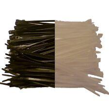 1000 x Cable Ties 100mm x 2.5mm BLACK / NATURAL - Nylon Zip Ties
