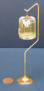 1:12 Scale Metal Bird Cage On A Stand Tumdee Dolls House Miniature Accessory 967
