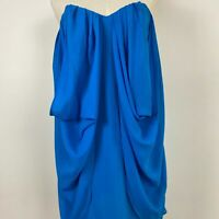 Rodeo Show Womens Blue Sleeveless Las Vegas Silk Strapless Dress Size 8