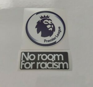 PREMIER LEAGUE PATCH BADGE 2020-2021 & NO ROOM FOR RACISM IRON ON PLAYER SIZE