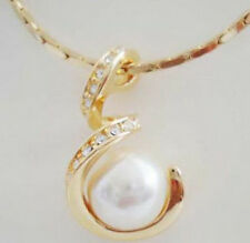 Fashion White Shell Pearl 18KGP Crystal Snake S Pendant Chain Necklace