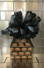 Halloween Candy Gift Box-Basket Wrapped With Black Bow & Card