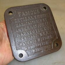 Name Plate Side Cover for a 3hp Vertical Ihc Famous Hit & Miss Gas Engine