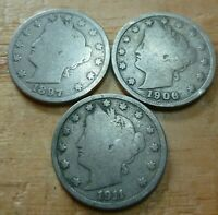 Three Circulated  Liberty Head V Nickels    Assorted Dates  1900 to 1912  #3LHNA