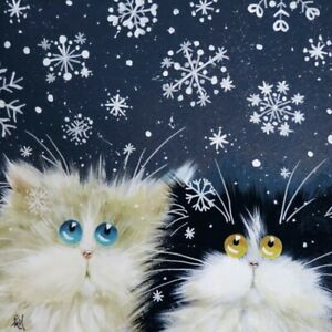 """""""Snowflakes"""" by Kim Haskins ~ Blank ~ Christmas ~ Greeting Card Funny Cats"""