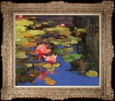 """Hand-painted Original Oil painting art impression Water lily On Canvas 20""""x24"""""""